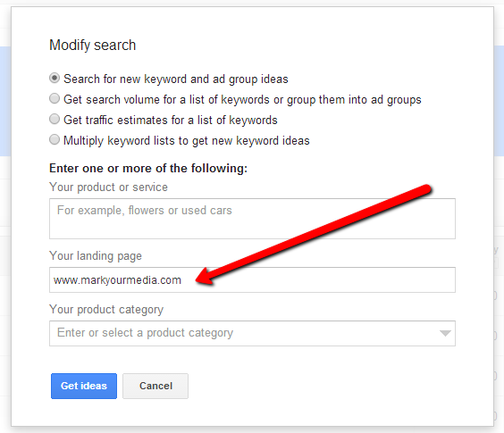 Modify a keyword search